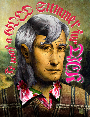 "Pen and ink drawing with digital collage colouring - image says, ""It Was a Good Summer for Dick"" and shows a portrait of a man with grey hair, cut in a mullet style, wearing a flowery shirt and brown plaid sweater, with a Mona Lisa smile on his face."