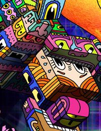 Pen and ink drawing by Marc Ngui with digital coloring - detail of the poster showing the cubist cartoon creatures.